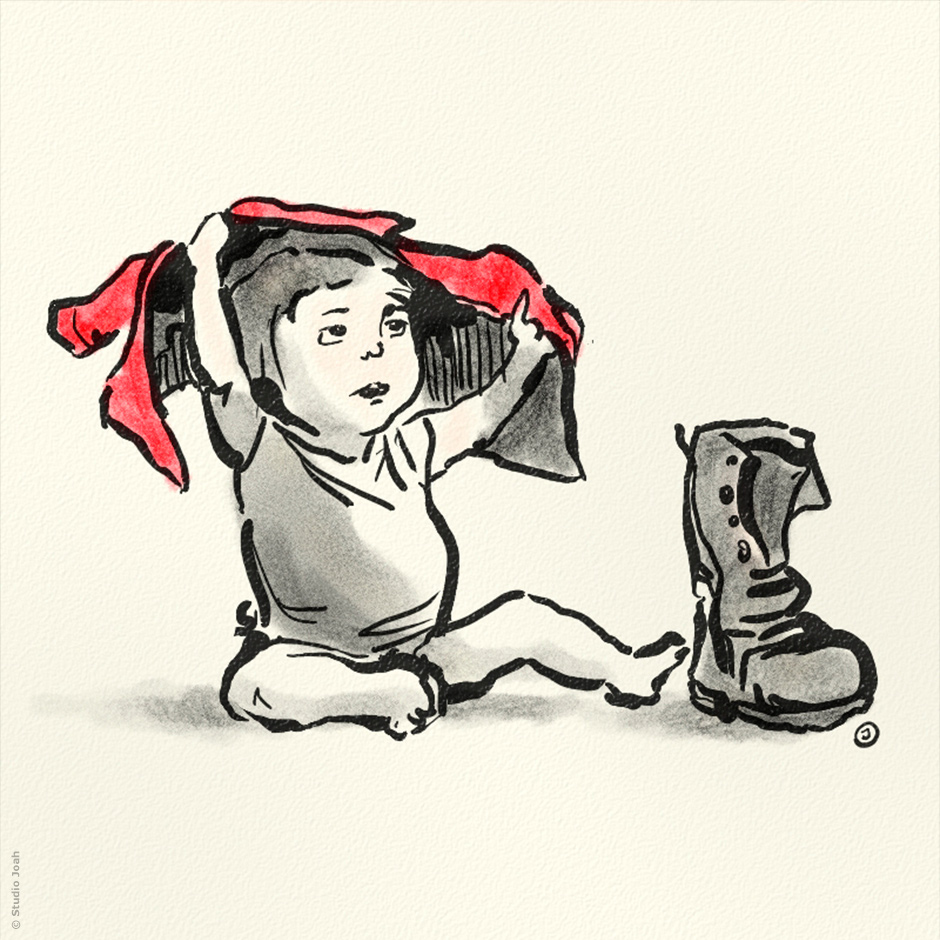 Kid with shoe
